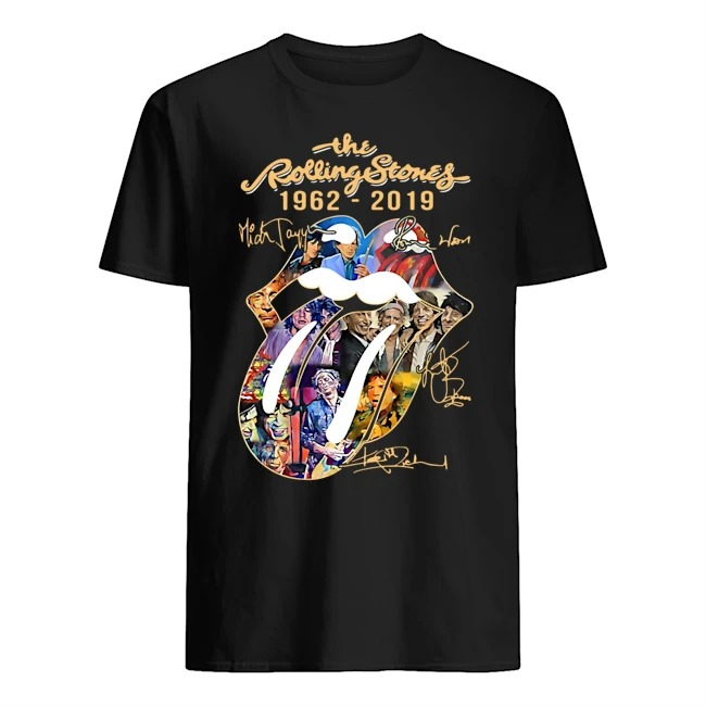 THE ROLLING STONES 1962-2019 SIGNATURES MICK JAGGER RONNIE WOOD SHIRT